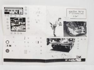 LeMans 1/24 Mazda 787B レジンキット マツダ ルマンの説明書-01