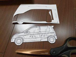 マニアモデルファイル 愛車 旧規格 HA21S/HB11S スズキ アルトワークス の自作 ミニカー 模型作り-型紙合わせ-03