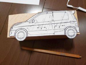 マニアモデルファイル 愛車 旧規格 HA21S/HB11S スズキ アルトワークス の自作 ミニカー 模型作り-型紙合わせ-09