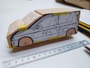マニアモデルファイル 愛車 旧規格 HA21S/HB11S スズキ アルトワークス の自作 ミニカー 模型作り-車軸中心決め-08