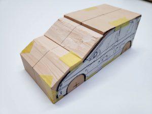 マニアモデルファイル 愛車 旧規格 HA21S/HB11S スズキ アルトワークス の自作 ミニカー 模型作り-車体中心線を引く-01