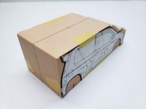 マニアモデルファイル 愛車 旧規格 HA21S/HB11S スズキ アルトワークス の自作 ミニカー 模型作り-車体中心線を引く-02