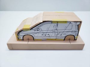 マニアモデルファイル 愛車 旧規格 HA21S/HB11S スズキ アルトワークス の自作 ミニカー 模型作り-車両台座固定-01