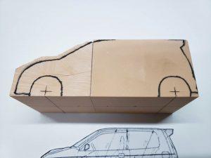 マニアモデルファイル 愛車 旧規格 HA21S/HB11S スズキ アルトワークス の自作 ミニカー 模型作り-車両けがき-08