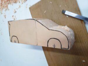 マニアモデルファイル 愛車 旧規格 HA21S/HB11S スズキ アルトワークス の自作 ミニカー 模型作り-右側面から車体の削り-03