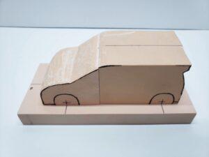 マニアモデルファイル 愛車 旧規格 HA21S/HB11S スズキ アルトワークス の自作 ミニカー 模型作り-フロント車体の削り-08