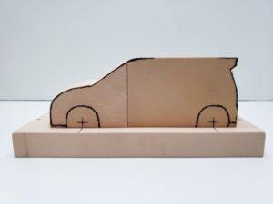 マニアモデルファイル 愛車 旧規格 HA21S/HB11S スズキ アルトワークス の自作 ミニカー 模型作り-フロント車体の削り-09