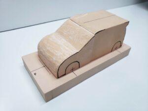 マニアモデルファイル 愛車 旧規格 HA21S/HB11S スズキ アルトワークス の自作 ミニカー 模型作り-フロント車体の削り-05