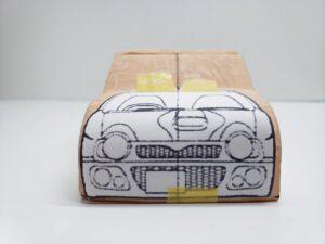 マニアモデルファイル 愛車 旧規格 HA21S/HB11S スズキ アルトワークス の自作 ミニカー 模型作り-フロント型紙合わせ-01