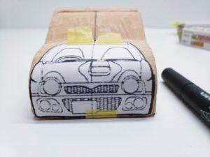 マニアモデルファイル 愛車 旧規格 HA21S/HB11S スズキ アルトワークス の自作 ミニカー 模型作り-フロント型紙合わせ-03