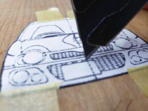 マニアモデルファイル 愛車 旧規格 HA21S/HB11S スズキ アルトワークス の自作 ミニカー 模型作り-フロント型紙のカット-01
