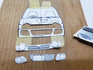 マニアモデルファイル 愛車 旧規格 HA21S/HB11S スズキ アルトワークス の自作 ミニカー 模型作り-フロント型紙のカット-02