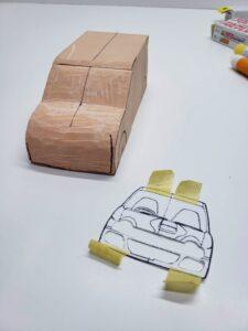 マニアモデルファイル 愛車 旧規格 HA21S/HB11S スズキ アルトワークス の自作 ミニカー 模型作り-フロント型紙合わせ-07