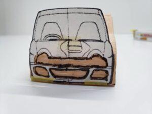 マニアモデルファイル 愛車 旧規格 HA21S/HB11S スズキ アルトワークス の自作 ミニカー 模型作り-フロント型紙合わせとケガキ-01