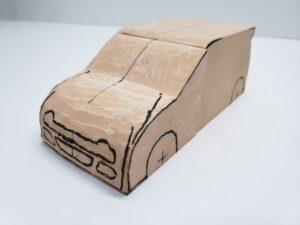 マニアモデルファイル 愛車 旧規格 HA21S/HB11S スズキ アルトワークス の自作 ミニカー 模型作り-フロント型紙合わせとケガキ-05