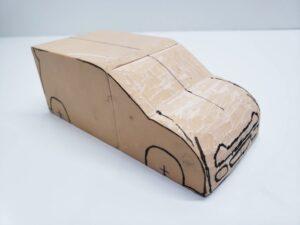 マニアモデルファイル 愛車 旧規格 HA21S/HB11S スズキ アルトワークス の自作 ミニカー 模型作り-フロント型紙合わせとケガキ-03