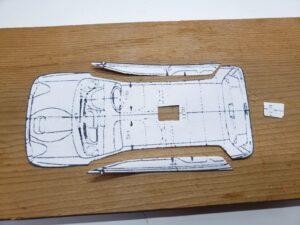 マニアモデルファイル 愛車 旧規格 HA21S/HB11S スズキ アルトワークス の自作 ミニカー 模型作り-ルーフ 天井 型紙合わせ-03