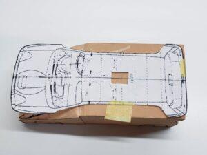 マニアモデルファイル 愛車 旧規格 HA21S/HB11S スズキ アルトワークス の自作 ミニカー 模型作り-ルーフ 天井 型紙合わせ-02