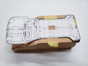 マニアモデルファイル 愛車 旧規格 HA21S/HB11S スズキ アルトワークス の自作 ミニカー 模型作り-ルーフ 天井 型紙合わせ-04