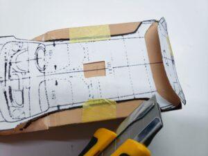 マニアモデルファイル 愛車 旧規格 HA21S/HB11S スズキ アルトワークス の自作 ミニカー 模型作り-ルーフ 天井 型紙合わせ-06
