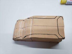 マニアモデルファイル 愛車 旧規格 HA21S/HB11S スズキ アルトワークス の自作 ミニカー 模型作り-ルーフ 天井 型紙合わせ-07