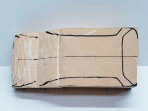 マニアモデルファイル 愛車 旧規格 HA21S/HB11S スズキ アルトワークス の自作 ミニカー 模型作り-ルーフ 天井 型紙合わせ-10
