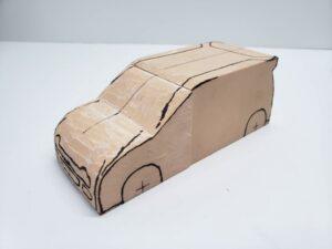 マニアモデルファイル 愛車 旧規格 HA21S/HB11S スズキ アルトワークス の自作 ミニカー 模型作り-ルーフ 天井 型紙合わせ-08