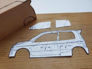 マニアモデルファイル 愛車 旧規格 HA21S/HB11S スズキ アルトワークス の自作 ミニカー 模型作り-ルーフ 左側面 型紙合わせ-01