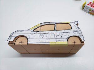マニアモデルファイル 愛車 旧規格 HA21S/HB11S スズキ アルトワークス の自作 ミニカー 模型作り-ルーフ 左側面 型紙合わせ-02