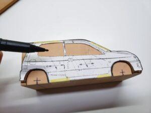 マニアモデルファイル 愛車 旧規格 HA21S/HB11S スズキ アルトワークス の自作 ミニカー 模型作り-ルーフ 右側面 型紙合わせ-01