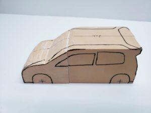 マニアモデルファイル 愛車 旧規格 HA21S/HB11S スズキ アルトワークス の自作 ミニカー 模型作り-ルーフ 左側面 型紙合わせ-04
