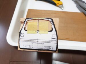 マニアモデルファイル 愛車 旧規格 HA21S/HB11S スズキ アルトワークス の自作 ミニカー 模型作り-リヤゲート 型紙、ケガキ-02