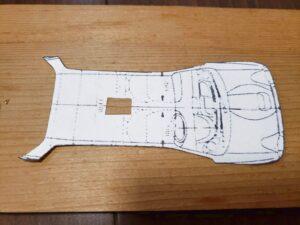 マニアモデルファイル 愛車 旧規格 HA21S/HB11S スズキ アルトワークス の自作 ミニカー 模型作り-ルーフ(天井)フロントピラー 型紙、追加ケガキ-02