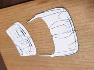 マニアモデルファイル 愛車 旧規格 HA21S/HB11S スズキ アルトワークス の自作 ミニカー 模型作り-フロントウインドウとボンネット部の型紙 切り離し-02