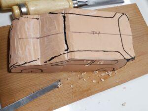 マニアモデルファイル 愛車 旧規格 HA21S/HB11S スズキ アルトワークス の自作 ミニカー 模型作り-ルーフ 天井 の削り風景 - 02