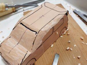 マニアモデルファイル 愛車 旧規格 HA21S/HB11S スズキ アルトワークス の自作 ミニカー 模型作り-ルーフ 天井 の削り風景 - 03