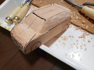 マニアモデルファイル 愛車 旧規格 HA21S/HB11S スズキ アルトワークス の自作 ミニカー 模型作り-ルーフ 天井、左側面、ピラー の削り風景 - 03
