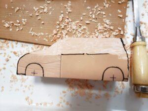 マニアモデルファイル 愛車 旧規格 HA21S/HB11S スズキ アルトワークス の自作 ミニカー 模型作り-ルーフ 天井、左側面、ピラー の削り風景 - 04