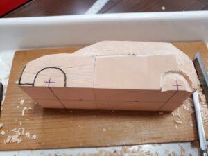 マニアモデルファイル 愛車 旧規格 HA21S/HB11S スズキ アルトワークス の自作 ミニカー 模型作り - リヤのホイールアーチ削り風景 - 03