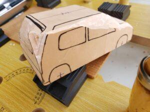 マニアモデルファイル 愛車 旧規格 HA21S/HB11S スズキ アルトワークス の自作 ミニカー 模型作り - リヤと右側面の削り風景 - 03