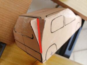 マニアモデルファイル 愛車 旧規格 HA21S/HB11S スズキ アルトワークス の自作 ミニカー 模型作り - リヤと右側面の削り風景 - 06