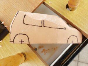 マニアモデルファイル 愛車 旧規格 HA21S/HB11S スズキ アルトワークス の自作 ミニカー 模型作り - リヤと右側面の削り風景 - 07