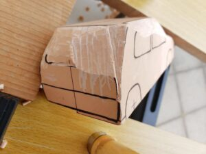 マニアモデルファイル 愛車 旧規格 HA21S/HB11S スズキ アルトワークス の自作 ミニカー 模型作り - リヤと右側面の削り風景 - 09