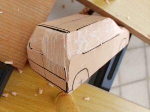 マニアモデルファイル 愛車 旧規格 HA21S/HB11S スズキ アルトワークス の自作 ミニカー 模型作り - リヤと右側面の削り風景 - 12