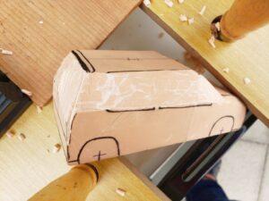 マニアモデルファイル 愛車 旧規格 HA21S/HB11S スズキ アルトワークス の自作 ミニカー 模型作り - リヤと右側面の削り風景 - 11