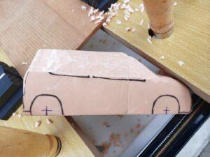 マニアモデルファイル 愛車 旧規格 HA21S/HB11S スズキ アルトワークス の自作 ミニカー 模型作り - リヤと右側面の削り風景 - 10