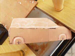 マニアモデルファイル 愛車 旧規格 HA21S/HB11S スズキ アルトワークス の自作 ミニカー 模型作り - 右側ホイールアーチを削る風景 - 03