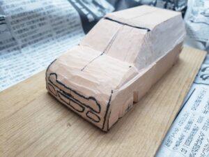 マニアモデルファイル 愛車 旧規格 HA21S/HB11S スズキ アルトワークス の自作 ミニカー 模型作り - 左側面の全体的な彫り -01