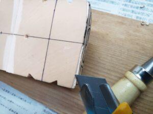 マニアモデルファイル 愛車 旧規格 HA21S/HB11S スズキ アルトワークス の自作 ミニカー 模型作り - フロントバンパー下部-左側の彫り -02
