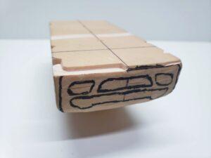 マニアモデルファイル 愛車 旧規格 HA21S/HB11S スズキ アルトワークス の自作 ミニカー 模型作り - フロントバンパー下部-左側の彫り -06
